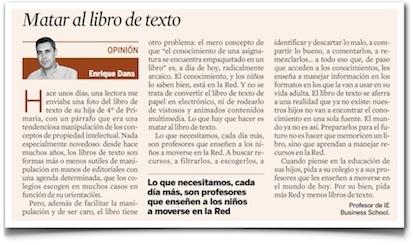 Matar al libro de texto, columna en Expanson de Enrique Dans. | E-Learning, Formación, Aprendizaje y Gestión del Conocimiento con TIC en pequeñas dosis. | Scoop.it