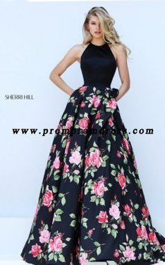 533031b589 Black Red Print Halter Sherri Hill 50333 Long A Line Prom Dress  Sherri Hill  50333  -  248.00   2016 New Style Dresses For Prom