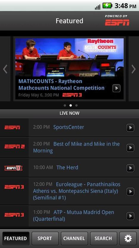 ESPN Debuts Live TV Streaming App For Android | TV Everywhere | Scoop.it