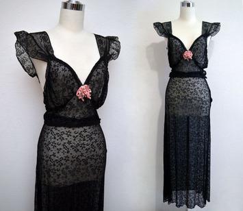 Vintage 30s Black Lace Lingerie Set // 1930s Skirt & Top by Beau Monde | Lingerie Love | Scoop.it