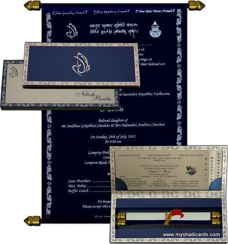 Scroll Invitation Cards – MyShadiCards | Indian Wedding Cards | Wedding Invitation Cards | Engagement Invitations