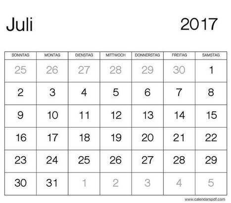 Print Juli Kalender 2017\' in Printable Calendar   Scoop.it