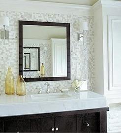 Bathrooms White Gray Glass Tiles Carrara Marb