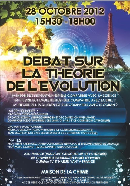 DEBAT DU SIECLE: DEBAT SUR LA THEORIE DE L'EVOLUTION A PARIS! | Facebook | Conscience - Sagesse - Transformation - IC - Mutation | Scoop.it