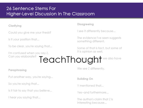 26 Sentence Stems For Higher-Level Discussion In The Classroom | SciTEACH21Cscoop | Scoop.it