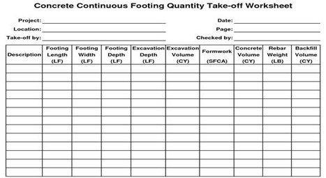 Quantity Takeoff Spreadsheet