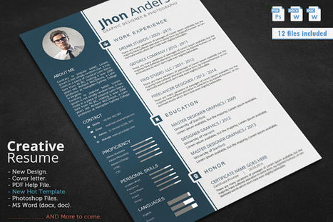resume cv template updated in psd doc docx