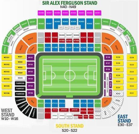 Old Trafford Seating Plan Home To Manchester U