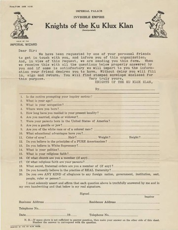 Check out the questions on this original Knights of the Ku Klux Klan (KKK) application (1921) | Brian's Science and Technology | Scoop.it