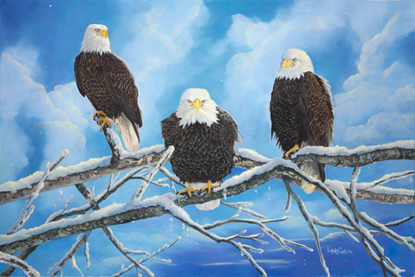 "New Painting ""Eagles, Warming in the Sun"" 
