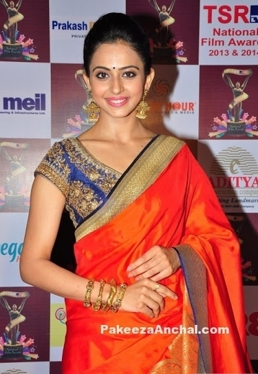 652c9903396d8 Rakul Preet Singh in Silk Saree and Embroidered Short Sleeved Blouse by  Sailesh Singania