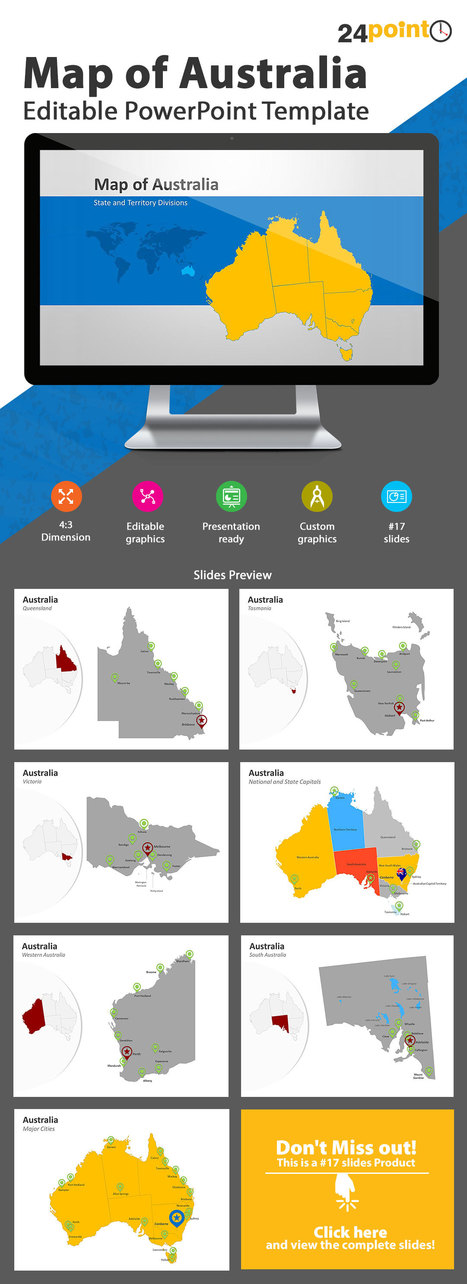 Australia Map: Editable PowerPoint Template | PowerPoint Presentation Tools and Resources | Scoop.it