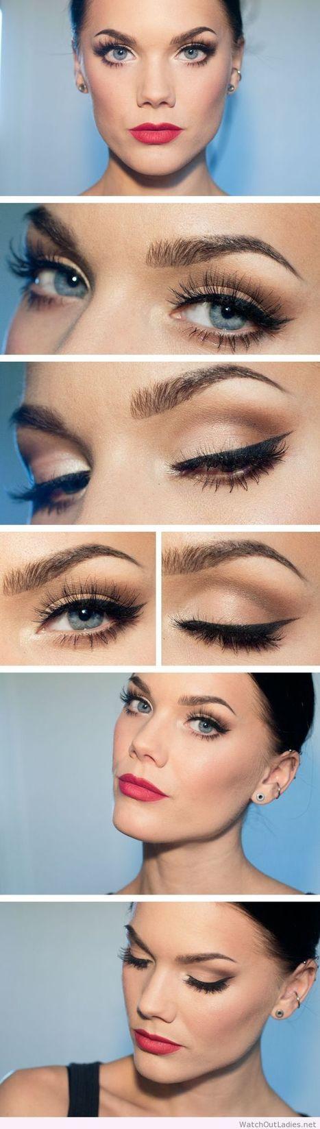Linda Hallberg lady makeup, nude eye makeup and