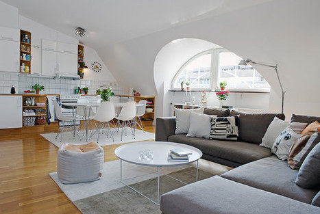 Attic Apartment Design With White Interior In Sweden | 2012 Interior Design,  Living Room Ideas