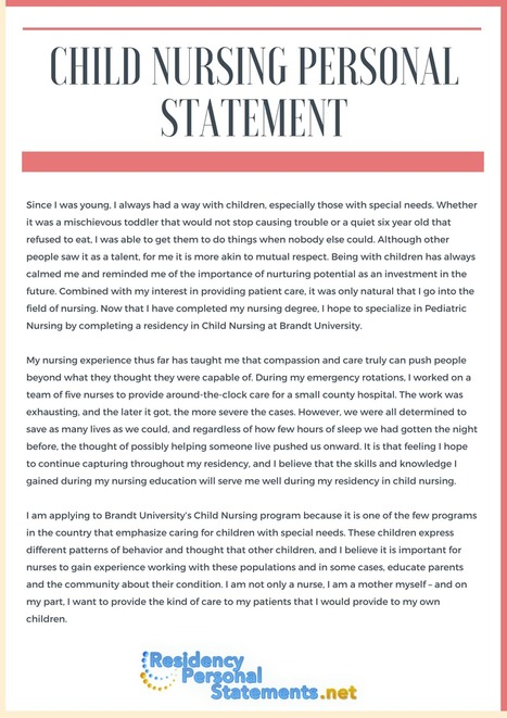 Child Nursing Personal Statement  Residency Ad