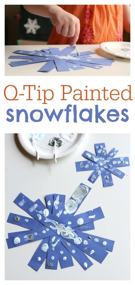 Q-tip Painted Snowflake Crafts - No Time For Flash Cards | Learn through Play - pre-K | Scoop.it