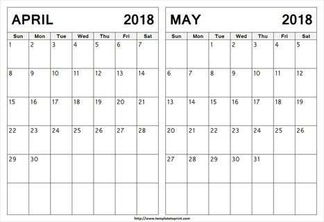 Blank April May 2018 Calendar Template 2 Mont