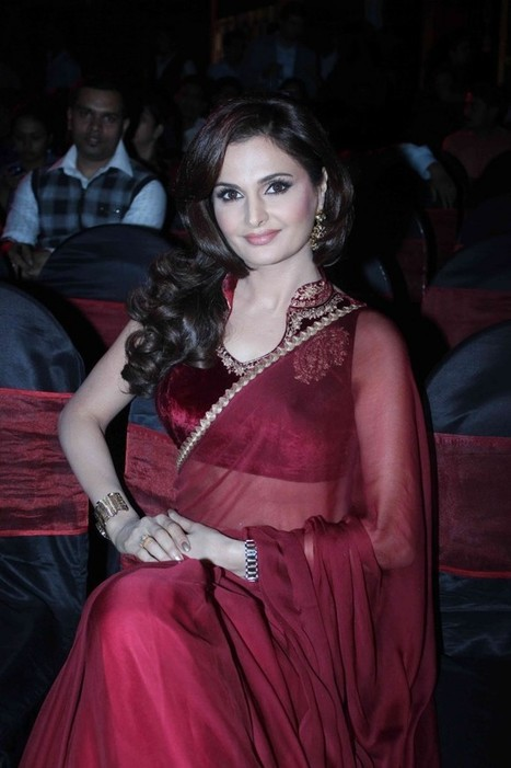Monica Bedi in Maroon Red Velvet Blouse and Saree at TV Serial Saraswati Chandra Launch, Actress, Bollywood, Indian Fashion | Indian Fashion Updates | Scoop.it