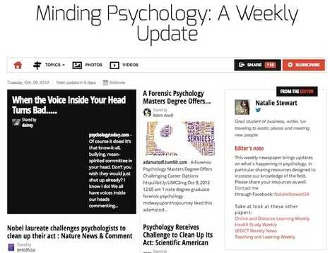 Oct 9 - Minding Psychology: A Weekly Update | Psychology Professionals | Scoop.it