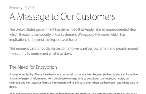 Apple publishes letter responding to FBI iPhone unlock demand: 'an unprecedented step which threatens the security of our customers' | Macwidgets..some mac news clips | Scoop.it