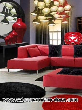 Salon marocain rouge et noir - Salon marocain d...