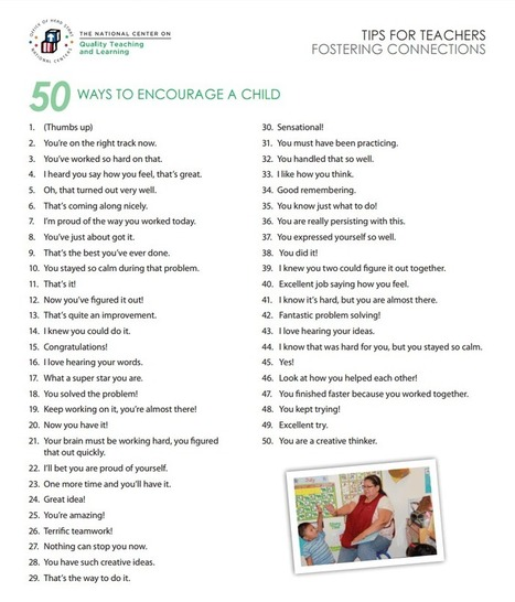 50 Things You Can Say To Encourage A Child - | Educational Technology | Scoop.it