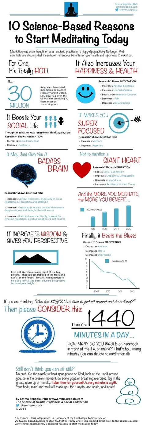 Benefits of Meditation: 10 Science-Based Reasons To Start Meditating Today INFOGRAPHIC - Emma Seppälä, Ph.D. | The Promise of Mindfulness Meditation | Scoop.it