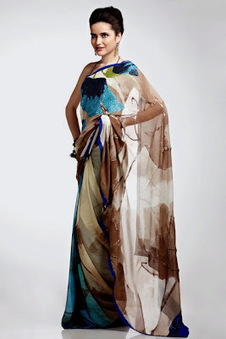 Satya Paul Chiffon Colorful Sarees For Summer 2013 | Fashion Blog | Scoop.it