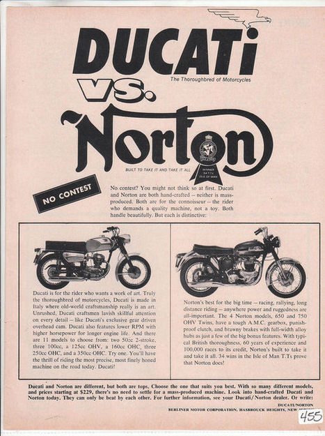 Ductalk | History DejaView | Vintage Ducati - Norton Ad | Ductalk Ducati News | Scoop.it