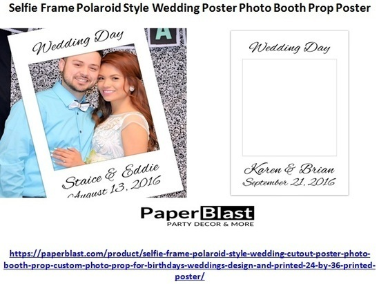 Blue White Stripes and Flowers Selfie Frame Social Media Photo Booth Prop Party Poster