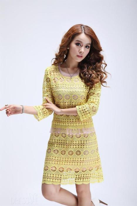 2aa2c77c0 Fashion Eye-catching Fake Two Pieces Half Sleeves Lace Dress