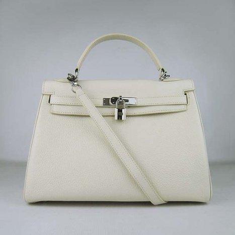 551e2c06ef9 ... Imitation Hermes Kelly 32CM bandoulière Sac à main argenté blanc cassé  - €257.00   répliques sac Louis Vuitton