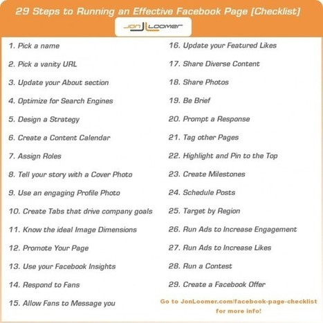 29 Steps to Running an Effective Facebook Page [Checklist] - JonLoomer.com | Digital Marketing with measurable results | Scoop.it