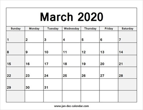 March Printable Calendar 2020.Blank Printable Calendar 2020 In January December Calendar