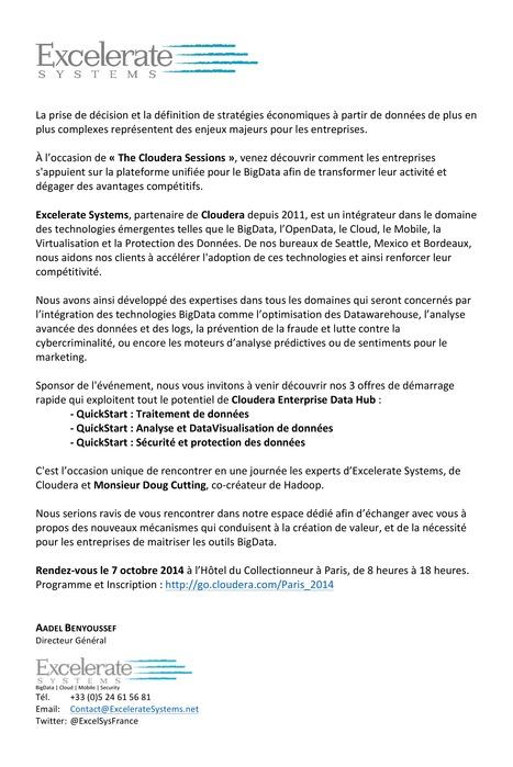 Excelerate Systems @ The Cloudera Sessions - Paris le 7-Oct | Mobile - BigData - Cloud - Sécurité - FrenchTech Innovations - TrendTech par Excelerate Systems - France | Scoop.it