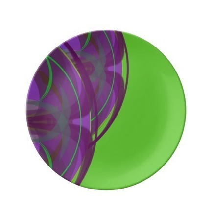 Purple and Green Decorative Design Plate Purple designs highlight a bright green porcelain plate. Great for food serving at Easter time. Serving dish size ...