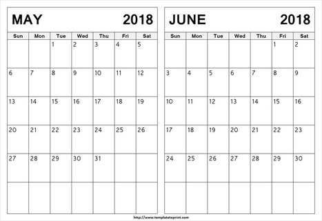 Blank May June 2018 Calendar Template 2 Month