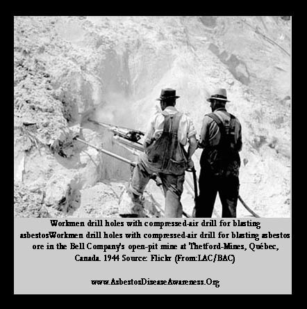 PHOTO 1944: Workmen drill holes with compressed-air drill for blasting asbestos ore in the Bell Company's open-pit mine | Asbestos and Mesothelioma World News | Scoop.it