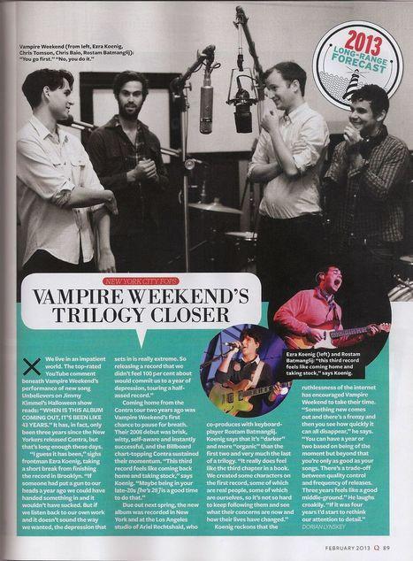 Vampire Weekend: 3rd Album set for May release | WNMC Music | Scoop.it