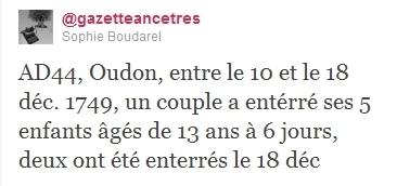 La gazette des ancêtres: Forte mortalité à Oudon | GenealoNet | Scoop.it