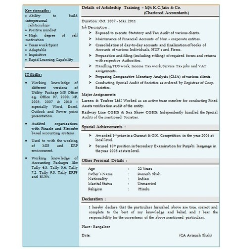 Resume Articleship Ca Firm