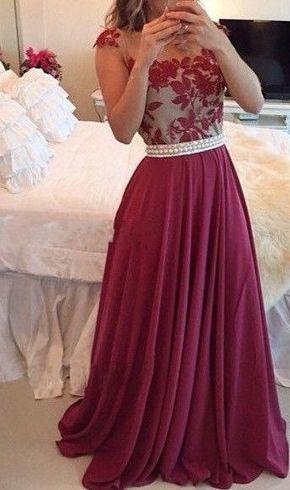 899e617f608a2 Sheer Lace Burgundy Chiffon Prom Dresses Capped...
