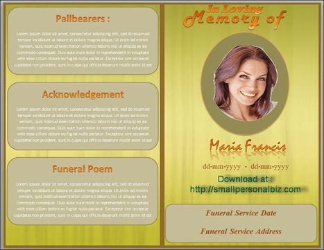 Editable Free Funeral Program Template In MS Word Brown Design  Free Templates For Funeral Programs