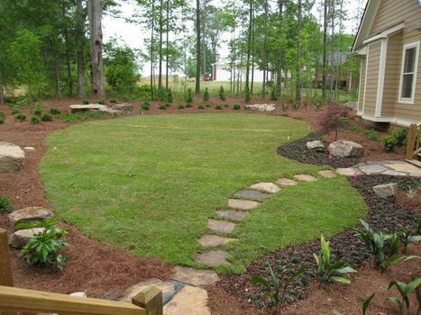 Landscaping design ideas after swimming pool re...