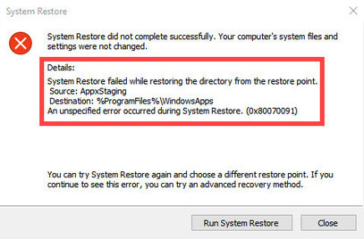 SOLVED) System Restore Error 0x80070091 in Win