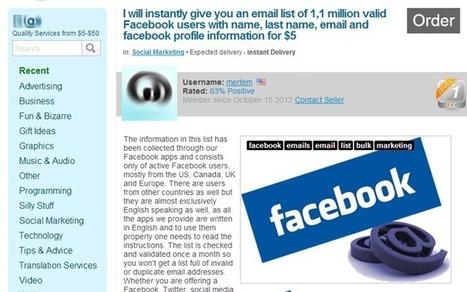 4 euros le fichier d'un million de membres Facebook | Antisocial | Scoop.it