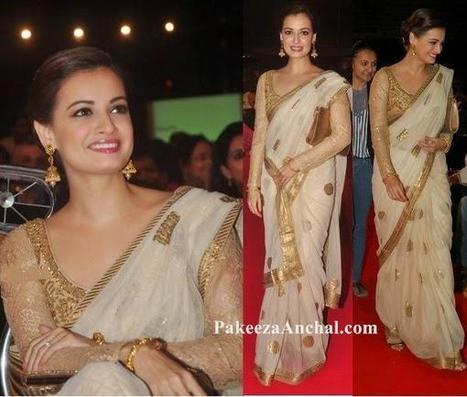 5f9cd268df86a Diya Mirza in Designer Fancy Saree with Full Sleeved Netted Blouse