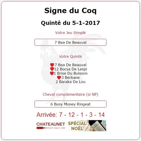 1 808.80€ pour ceux de  l'Année du #Coq au #Tiercé-#Quarté-#Quinté+ de ce Jeudi 5 Janvier à #Vincennes | Pariez avec ASTROQUINTE | Scoop.it