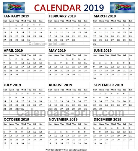 2019 south african calendar with public holidays new year calender
