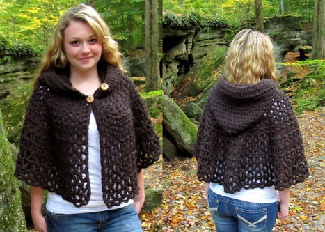 Crochet Pattern Wildwood Capelet Hooded Cape PD...